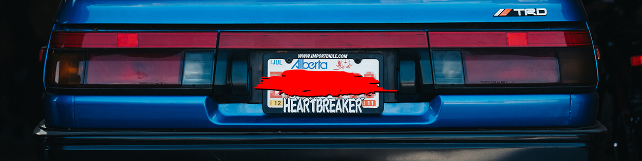 Heartbreaker license plate frame + Mogi Love air freshener