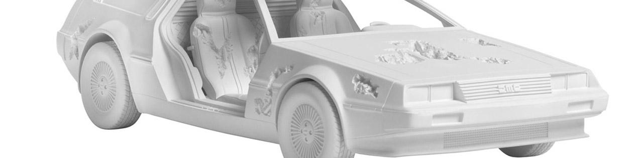 Daniel Arsham Eroded DeLorean sculpture