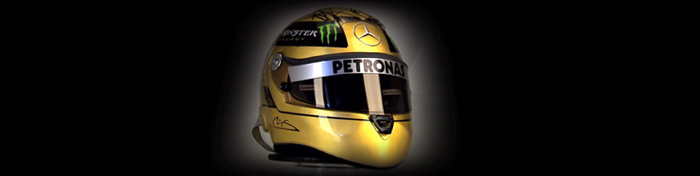 Schumacher´s gold-plated helmet